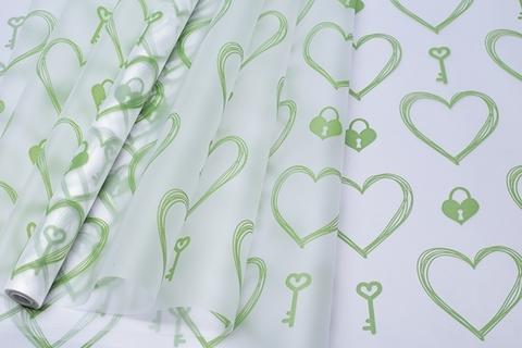 Пленка матовая ключ и сердце 70 см x 10 м цвет: зеленый