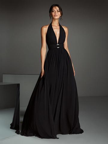 Вечернее платье классическое черное безрукавное