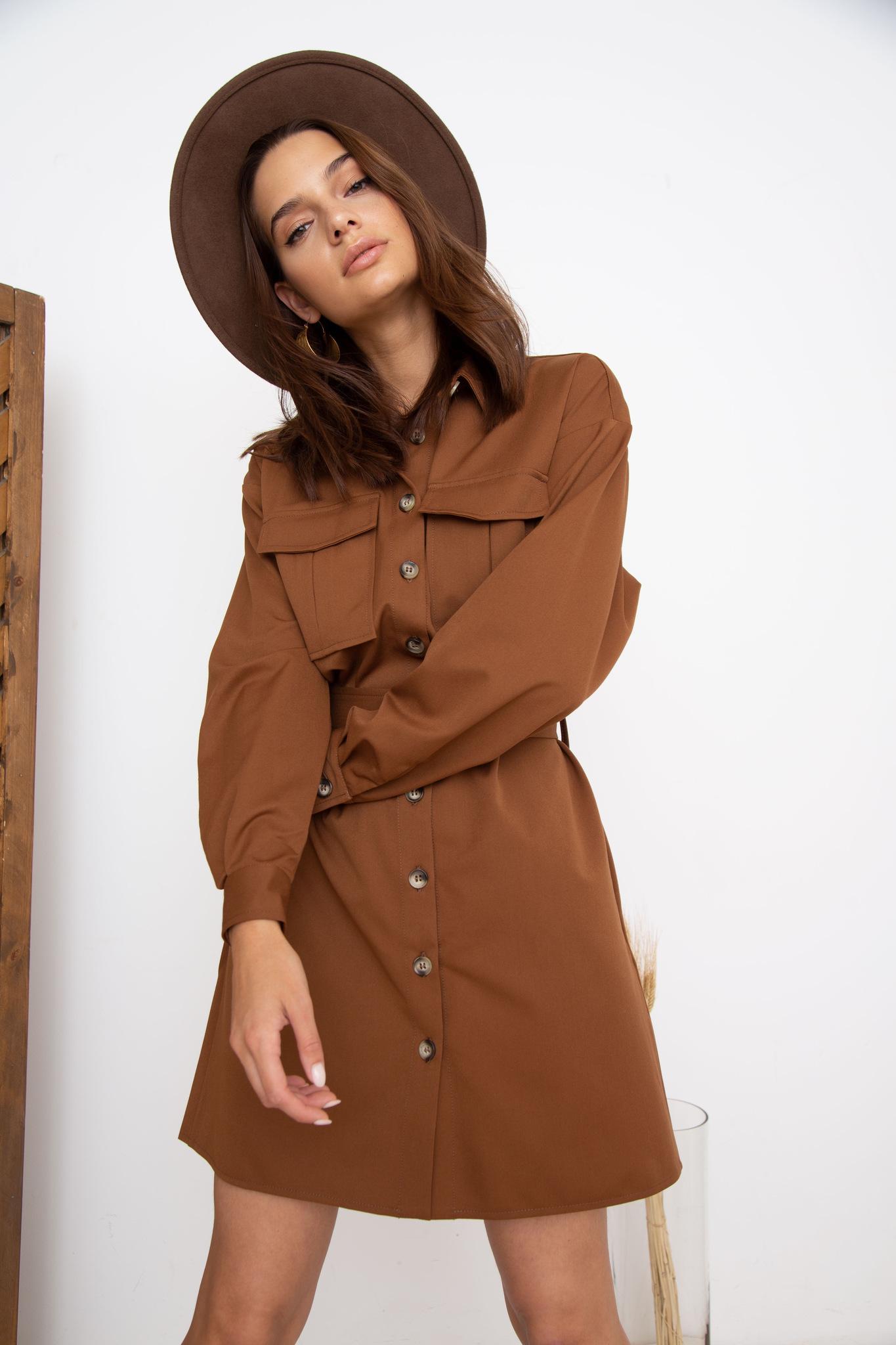 Платье-рубашка мини с поясом (темно-коричневый)