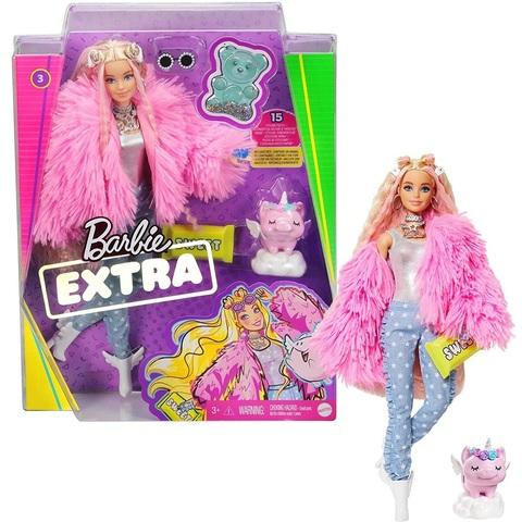 Барби Экстра 3 в Розовом Пушистом Пальто с Единорогом-Свиньей