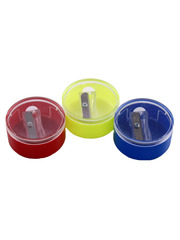 Точилка для всех видов карандашей с круглым контейнером.