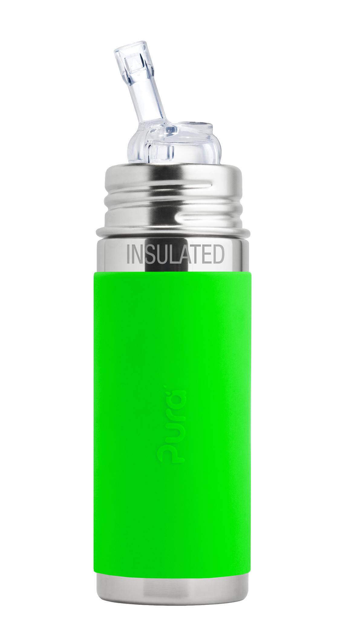 Детская ТЕРМОбутылочка с трубочкой Pura Kiki 260 мл (зеленый)