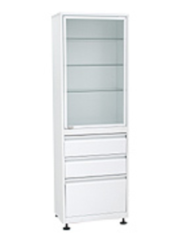 Медицинский шкаф (ШМС-1-А-Р-2/1) ШМС-1 с рег. опорами в алюминиевой раме с ящиками (2/1) - фото