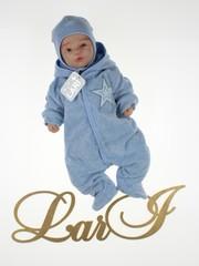Велюровый комбинезон Звездный с шапочкой (голубой меланж)