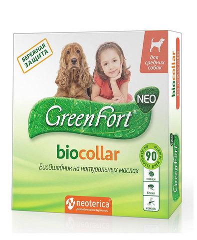 Green Fort neo БиоОшейник от блох и клещей для средних собак 65см (1х30)