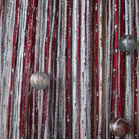 Шторы дождь радуга с шарами - Белые, бордо, серые. Ш-300см., В-280см. Арт.1-4-7
