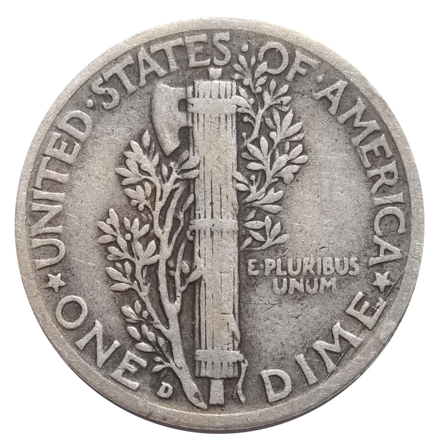 1 дайм (10 центов) 1942. (D) США VF (Меркурий) Серебро