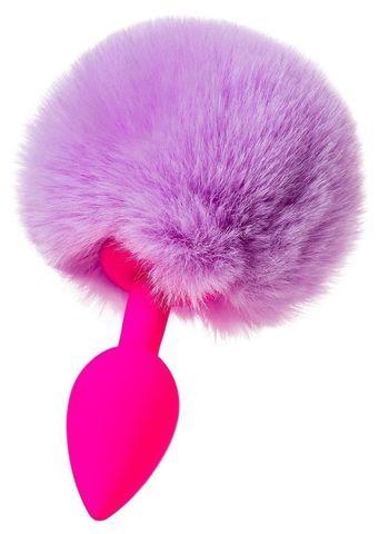 Розовая анальная втулка Sweet bunny с сиреневым пушистым хвостиком