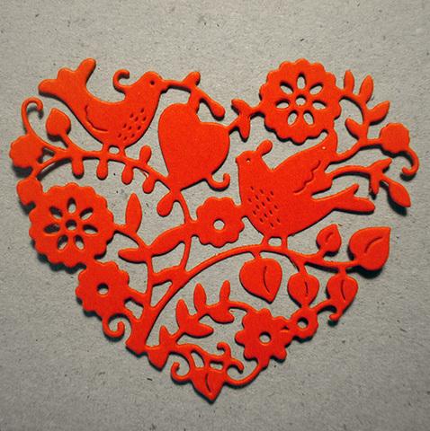 Вырубка Сердце 6,5х5,5 см красный