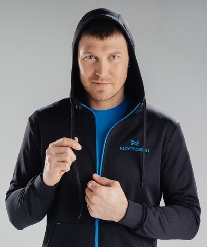 Толстовка Nordski Hood Black/Blue мужская