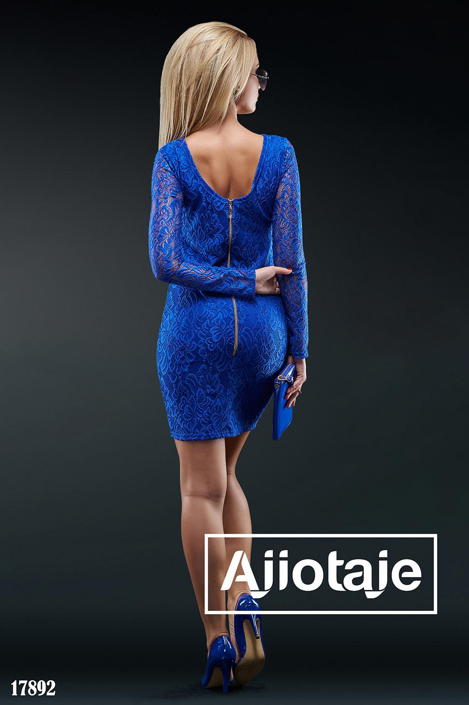Платье мини цвета электрик с вырезом на спинке