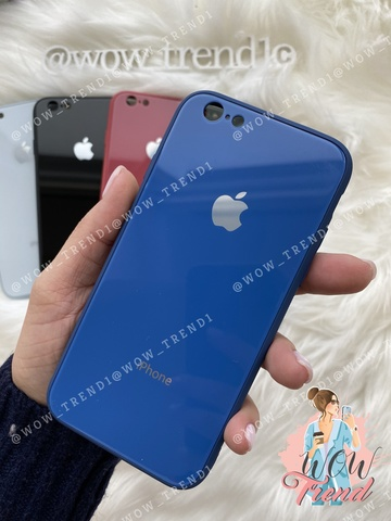 Чехол iPhone 6/6S Glass Pastel color Logo /blue/