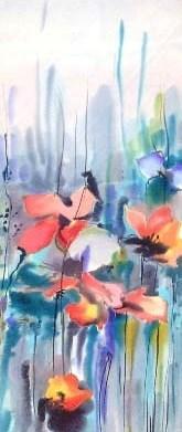 Шелковый шарф ручной росписи батик