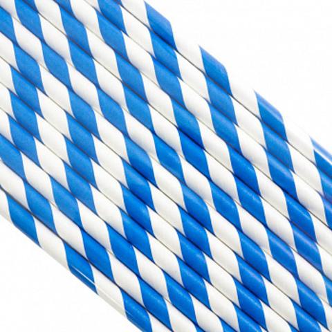 Трубочки бумажные Синие, звезды, 200*6мм, 25шт