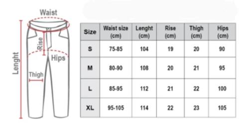 таблица размеров брюк