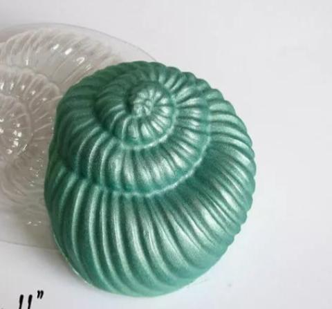 Пластиковая форма для шоколада дет. РАКУШКА СПИРАЛЬ 70х80мм