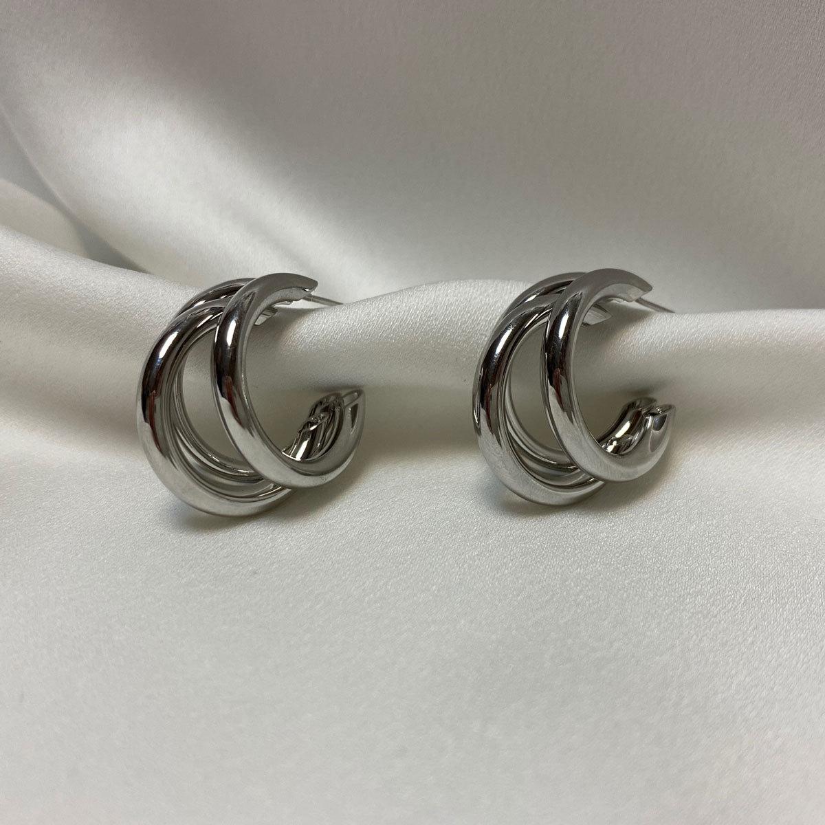 Серьги-конго тройные незамкнутые 2,5 см (серебристый) ш925