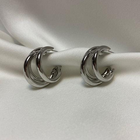 Серьги тройные кольца незамкнутые средние серебристые ш925