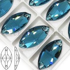 Купить оптом дешево пришивные стразы Blue Zircon сине-зеленые, Navette