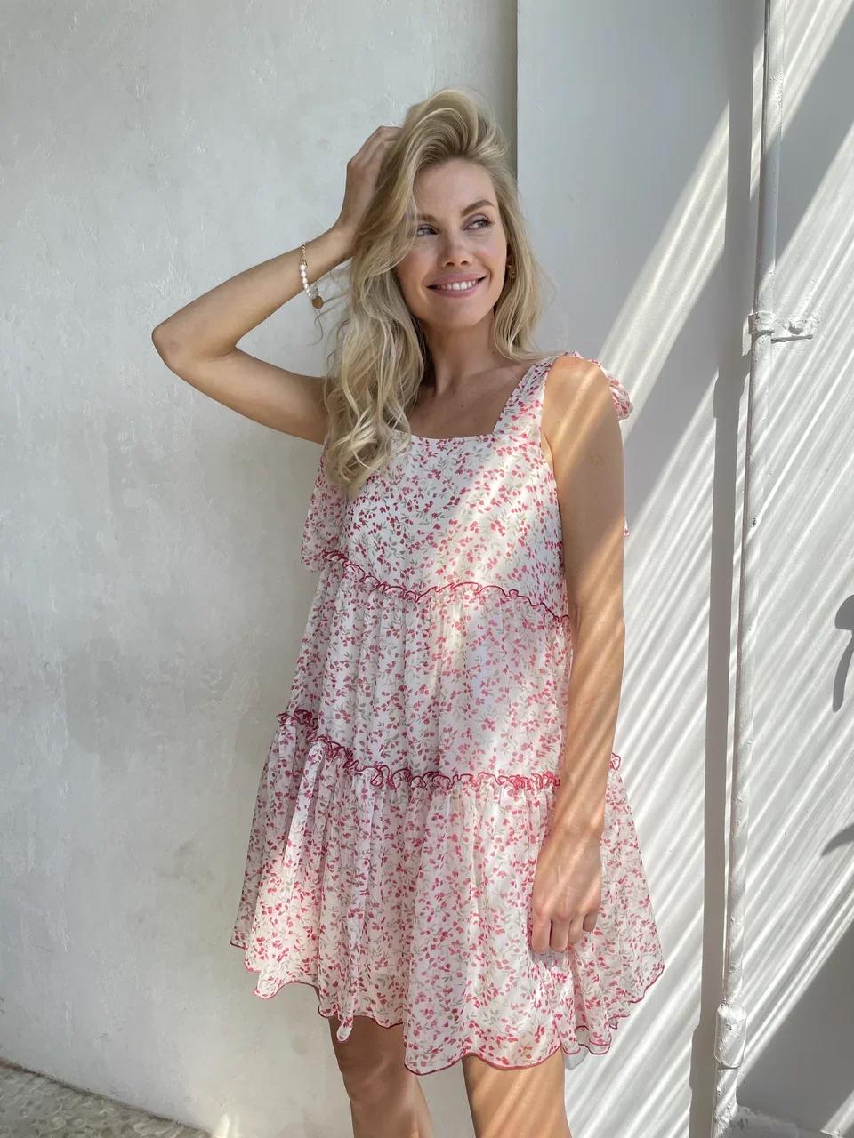 Платье шифоновое с завязками на плечах (цветы на белом)