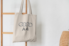 Сумка-шоппер с принтом Aуди А4 (Audi A4) бежевая 001
