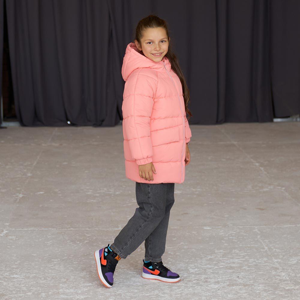 Дитяча подовжена зимова куртка в рожевому кольорі для дівчинки