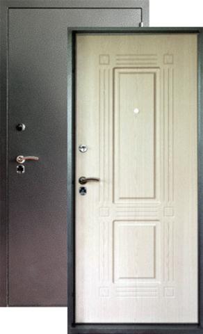 Дверь входная Форт Форт Б-7, 2 замка, 1,8 мм  металл, (серебро антик+беленый дуб)