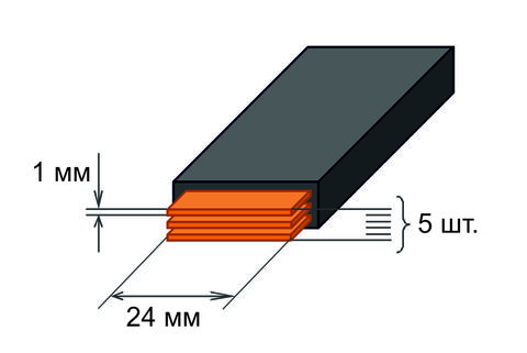 Шина медная гибкая изолированная ШМГ 5х(24x1мм) 2м.