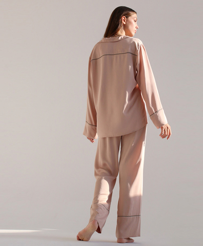 Пижамные брюки широкие кремовые