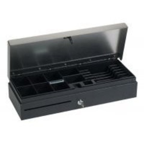 Денежный ящик с крышкой для инкассации Флип-Топ MAKEN FT-460B черный.