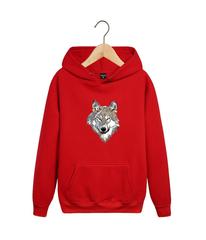 Толстовка красная 008 с капюшоном (худи, кенгуру) и принтом Волк (Wolf)