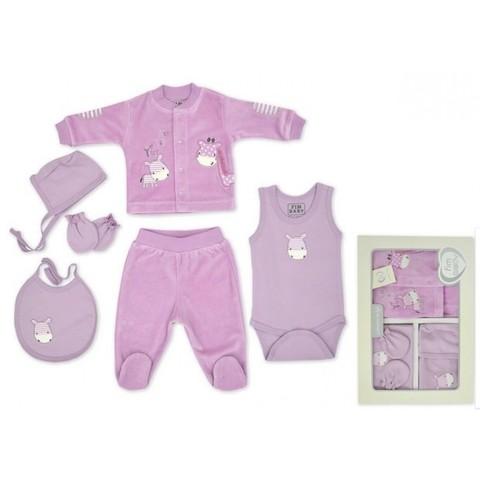 Набор одежды для детей FIMBABY 100863 от 0 до 6 мес. 6 предметов. (р.68 фиолетовый цвет)