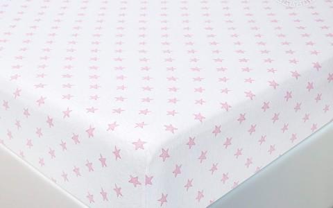 Простынь на резинке Звезды (розовый)