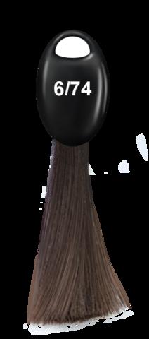OLLIN N-JOY  6/74 – темно–русый коричнево-медный, перманентная крем-краска для волос 100мл