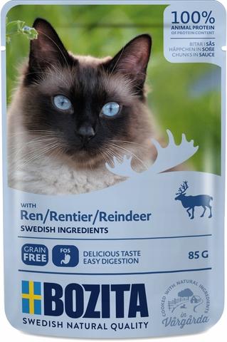 Bozita Pouch Reindeer in sauce Консервы для взрослых кошек с олениной, кусочки в соусе (Пауч)