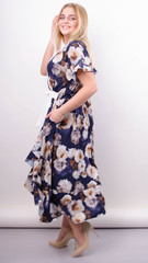 Агата. Легкое платье для больших размеров. Роза синий.