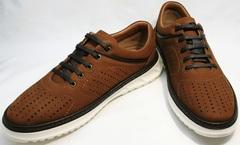 Мужские туфли спортивного стиля Vitto Men Shoes 1830 Brown White