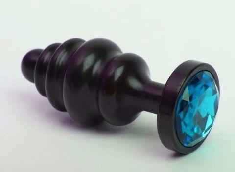 Чёрная ребристая анальная пробка с голубым кристаллом - 7,3 см.