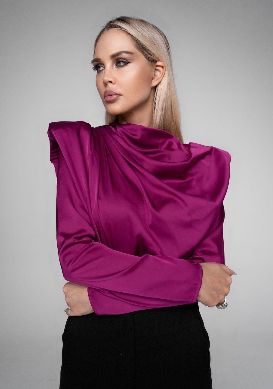 Блуза атласная  цвета фуксии
