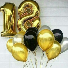 Воздушный шар (40''/102 см) Цифра, 8, Золото, 1 шт.