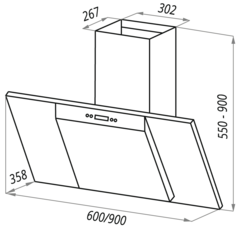 Вытяжка Maunfeld Gloria 90 нержавейка черное - схема