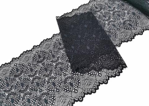 Эластичное кружево, 22 см, черное, (Арт: EK-2203), м