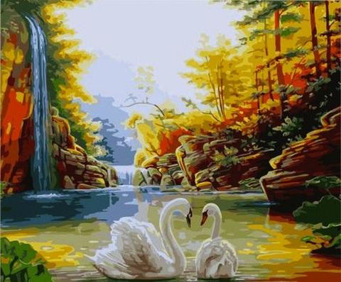 Алмазная Мозаика 30x40 Лебеди в озере (Арт. SEG71813 )