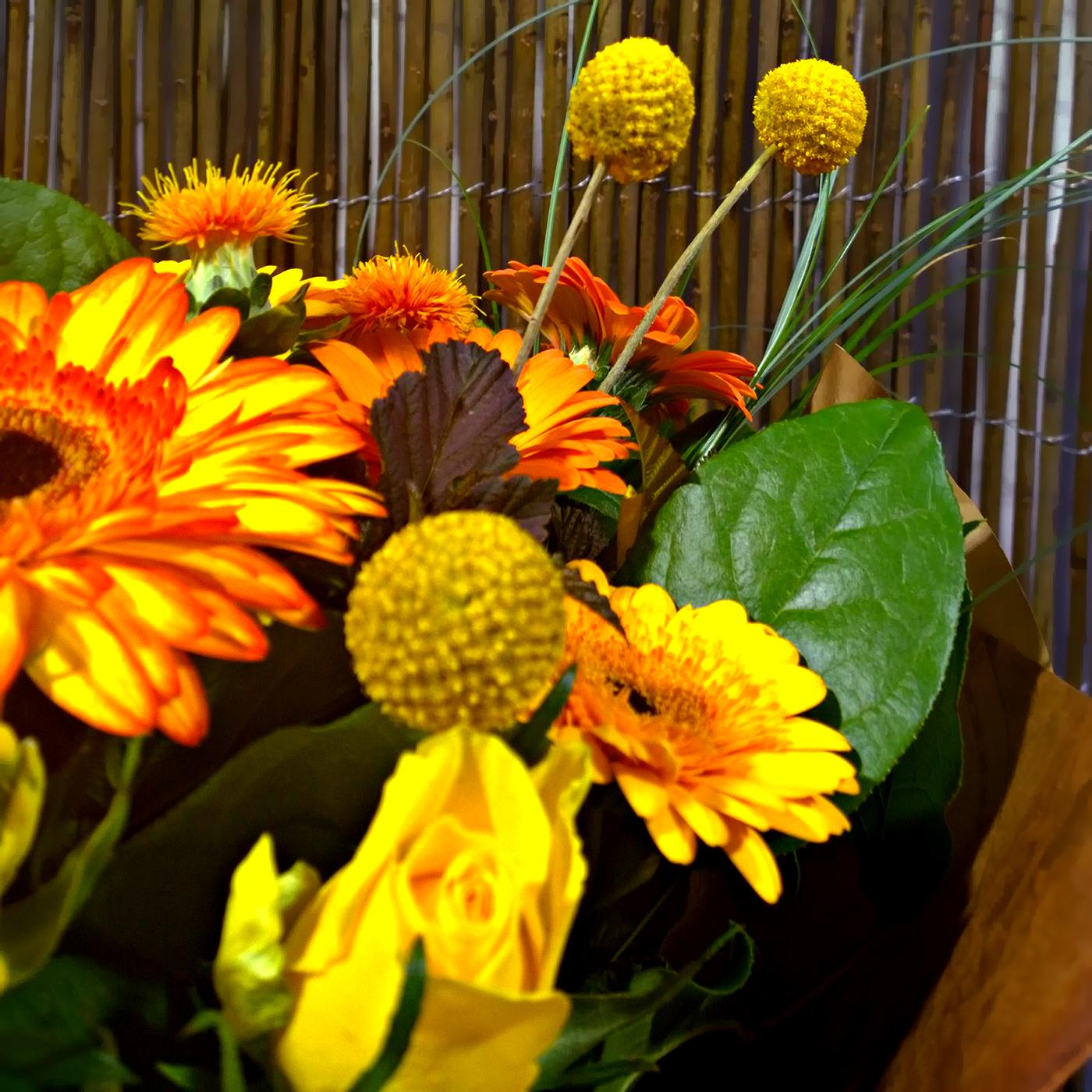 Букет Мерси Боку с желтыми и оранжевыми герберами, гермини, розами
