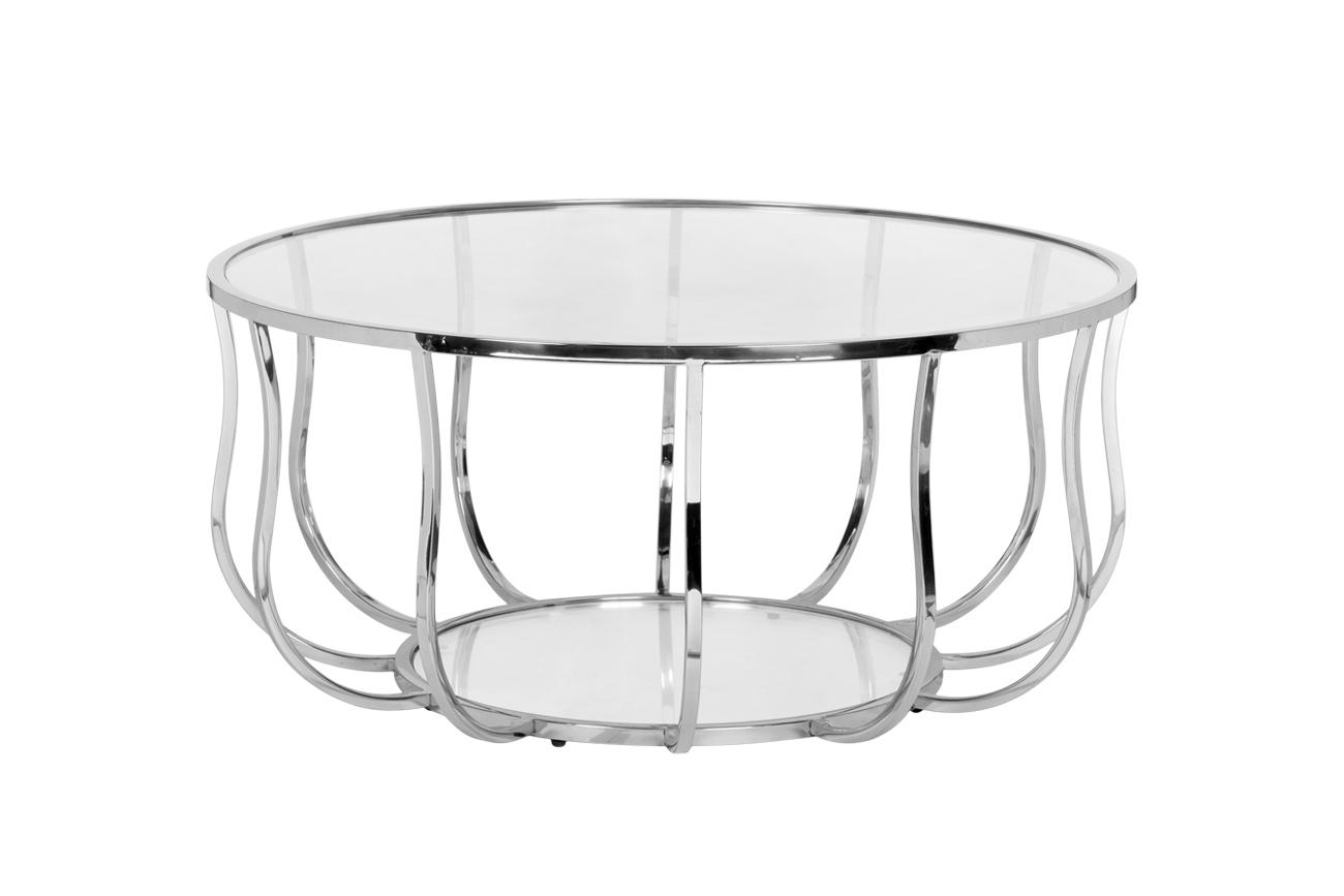 Стол журнальный 13RXCT4033-SILVER стекло прозр./серебро d100*45