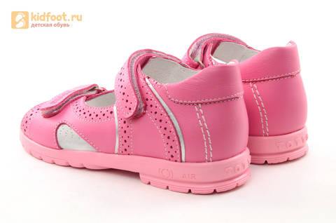 Босоножки для девочек из натуральной кожи с открытым носом на липучках Тотто, цвет розовый. Изображение 6 из 14.