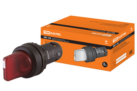 Переключатель на 3 положения с фиксацией SB7-CK3465-24V короткая ручка(LED) d22мм 1з+1р красный TDM