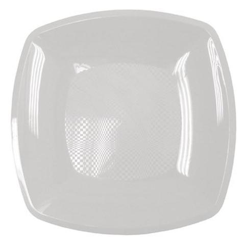 Тарелка одноразовая квадратная плоская пластиковая белая 230 мм 12 штук в упаковке