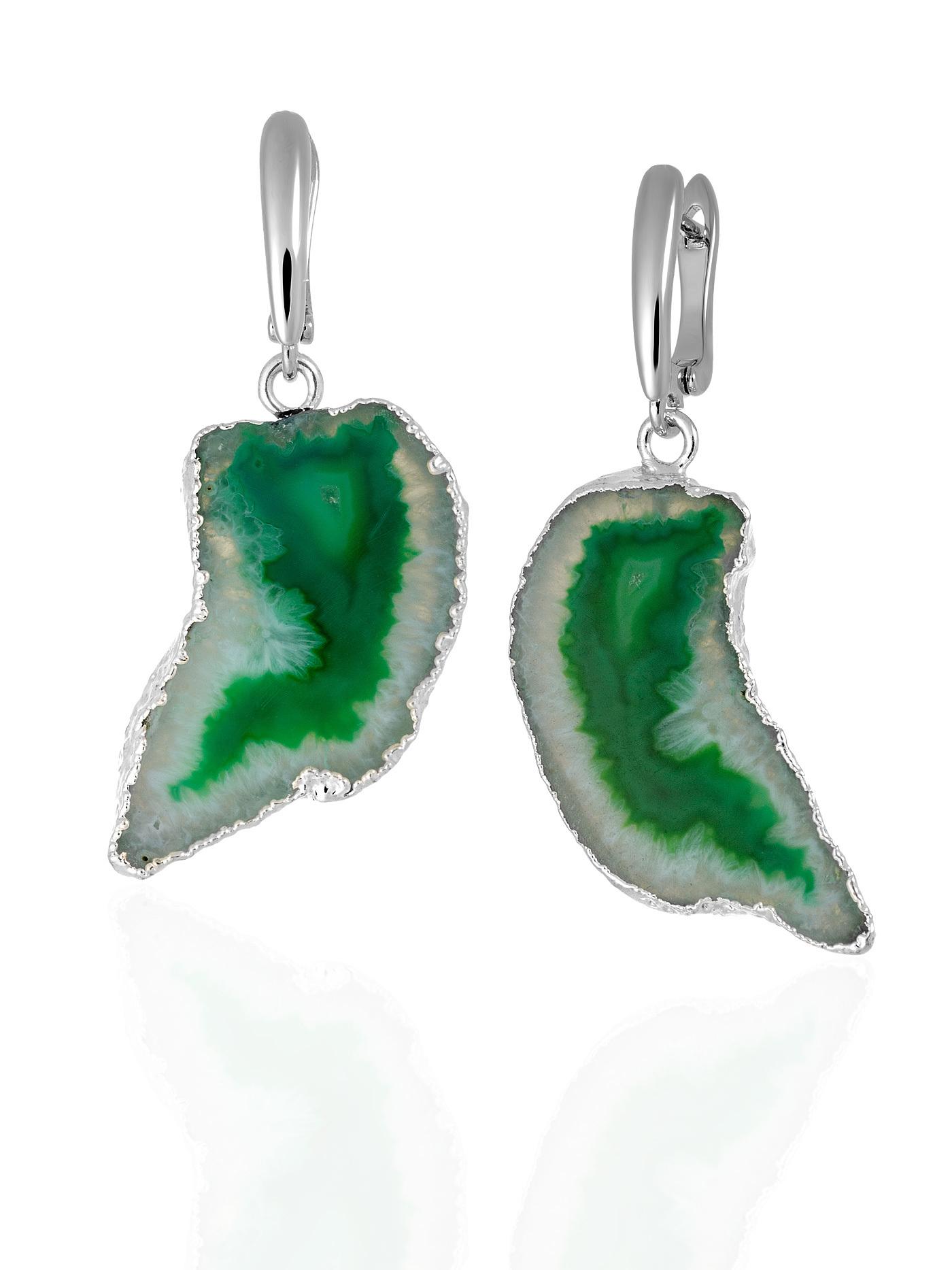 Дизайнерские серьги с жеодой агата зеленого цвета