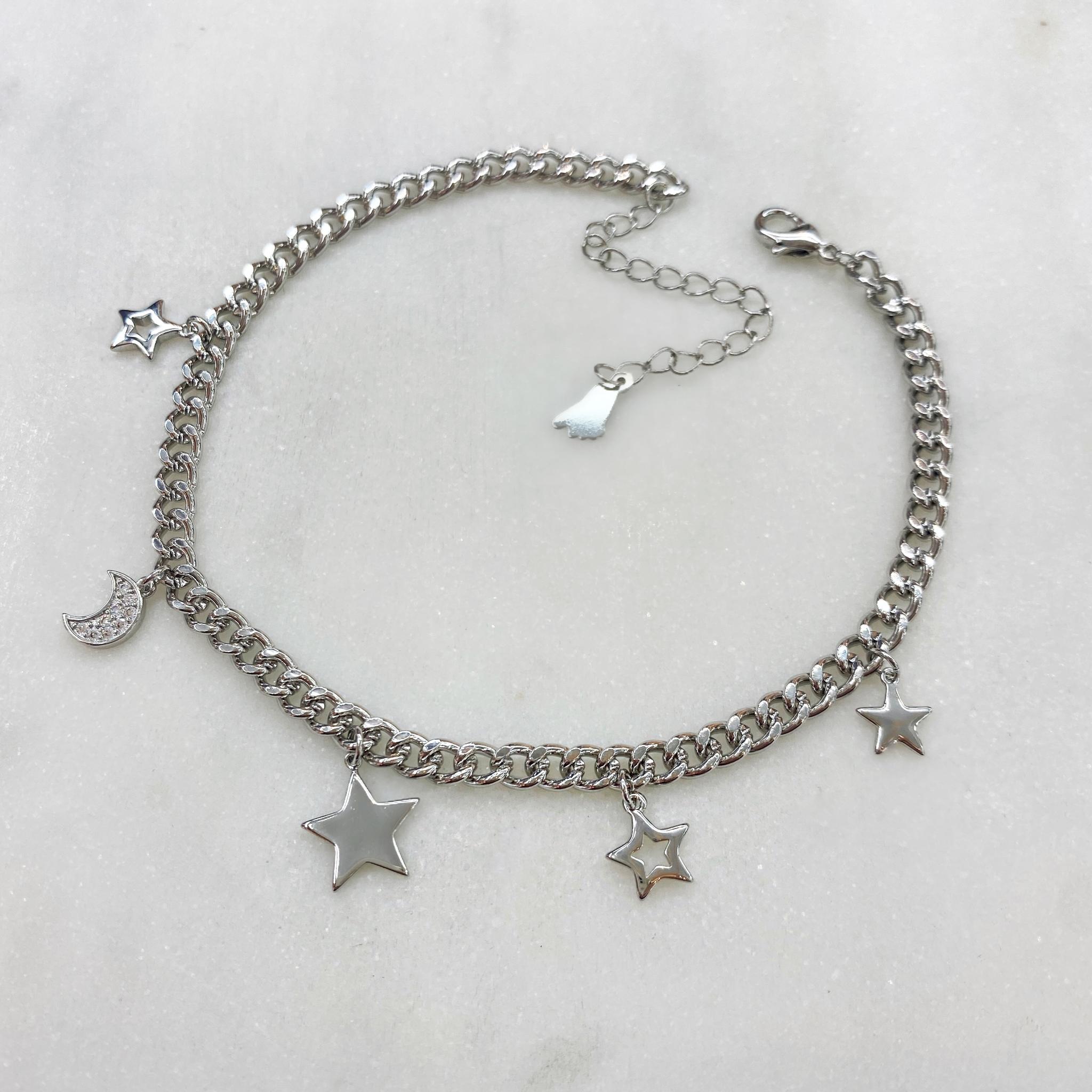 Анклет на панцирной цепи Звезды и Месяцы (серебристый)